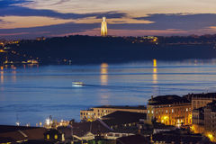 Cristo Rei Statue and Tagus River in Lisbon Stock Photo