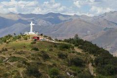 Cristo rey i Cusco Peru arkivfoton