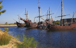 Cristobal Colon Ships. The three ships that Cristobal Colon goberned to discover America stock images