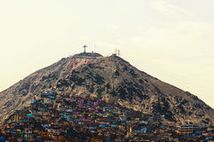 Cristobal. The slums of Lima situated on hill Saint Cristobal in Lima Stock Images