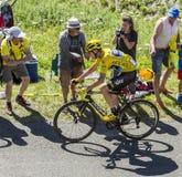 Cristopher Froome dans le débardeur jaune - Tour de France 2016 Image libre de droits