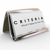 Criteria Business Card What it Takes for Job Skills Worker Exper. Criteria word on business cards and What it Takes for the Job to illustrate qualities, skills Stock Photography