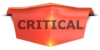 Banner critical. Critical 3D rendered red banner , isolated on white background stock illustration