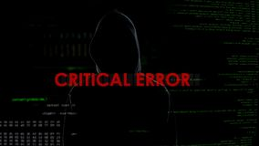 Critical error, unsuccessful attempt to hack server, disappointed criminal. Stock photo stock images