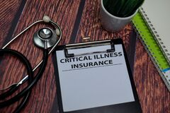 Free Critical Illness Insurance Write On Paperwork Isolated On Wooden Table Royalty Free Stock Photography - 185475337