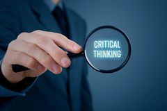 Critical thinking concept. Businessman is focused on critical thinking royalty free stock images
