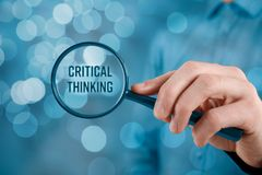 Critical thinking concept. Businessman is focused on critical thinking stock photo