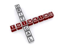 Critical thinking sign. 3d letter blocks in crossword puzzle shape spelling words critical thinking, white background stock photo