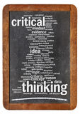 Critical thinking word cloud. On a vintage blackboard isolated on white royalty free stock photo