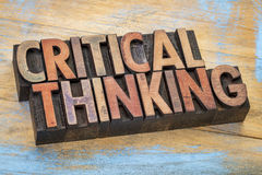 Critical thinking words in wood type Stock Photo