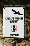 Critical Wildlife Habitat - Stay Out Stock Image
