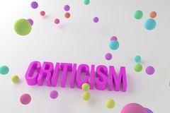 Criticism, business conceptual colorful 3D rendered words. Message, text, alphabet & communication. Criticism, business conceptual colorful 3D rendered words royalty free illustration
