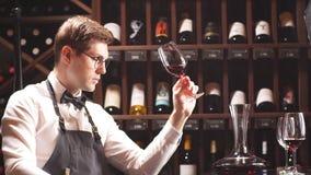 Critique immerg? d'alcool regardant fixement fixement le vin banque de vidéos