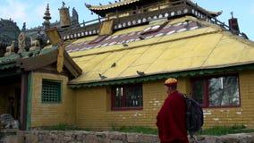 Critique la inclinación del monje delante de uno de los stupas cerca del monasterio de Gandan al tejado almacen de metraje de vídeo