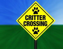 Critter Crossing Street Sign Royalty Free Stock Photo
