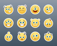 Critters. Set of funny and very scary emoticons which sharp teeth Royalty Free Stock Image