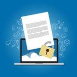 Crittografia confidenziale bloccata di sicurezza di sicurezza di archivio di protezione della carta contenta del documento severa royalty illustrazione gratis