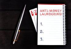 ?criture conceptuelle de main montrant l'anti blanchiment d'argent Arrêt de présentation de photo d'affaires produisant du revenu image stock