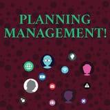 ?criture conceptuelle de main montrant la gestion de planification Acte de photo d'affaires ou processus de présentation de la fa illustration libre de droits