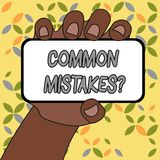 ?criture conceptuelle de main montrant la question d'erreurs communes L'acte ou le jugement de r?p?tition des textes de photo d'a illustration stock