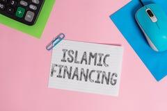 ?criture conceptuelle de main montrant le financement islamique Activit? et investissement de pr?sentation d'op?rations bancaires photographie stock
