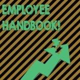 ?criture conceptuelle de main montrant le guide des employ?s Le texte de photo d'affaires énonce les règles et les règlements et  illustration libre de droits