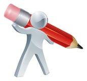 Écriture de personne avec le crayon géant Photos libres de droits