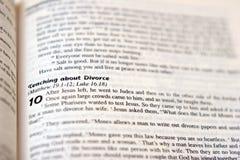 Écriture sainte de divorce Photographie stock