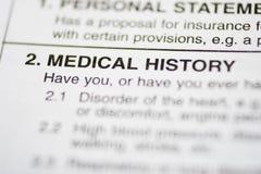 Écritures #1 - Antécédents médicaux Image stock