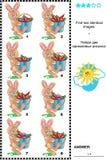 Crivo da imagem - encontre duas imagens idênticas dos coelhos e das cenouras ilustração stock