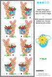 Crivo visual com imagens espelhadas - coelhos e cenouras ilustração royalty free
