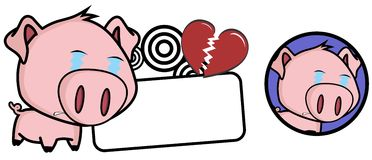 Criying Little pig big head expression copyspace Royalty Free Stock Photos
