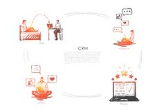 CRM - CRM, ανατροφοδοτεί, άποψη, διανυσματικό σύνολο έννοιας αναθεώρησης ελεύθερη απεικόνιση δικαιώματος