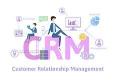 CRM, διαχείριση σχέσης πελατών Πίνακας έννοιας με τις λέξεις κλειδιά, τις επιστολές και τα εικονίδια Χρωματισμένη επίπεδη διανυσμ Στοκ Φωτογραφία