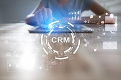 CRM Концепция управления отношения клиента Обслуживание клиента и отношение Стоковая Фотография