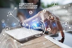 CRM Концепция управления отношения клиента Обслуживание клиента и отношение Стоковая Фотография RF