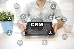 CRM Концепция управления отношения клиента Обслуживание клиента и отношение стоковое фото