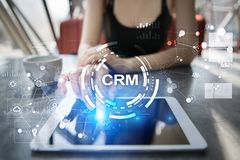 CRM Концепция управления отношения клиента Обслуживание клиента и отношение стоковые фотографии rf
