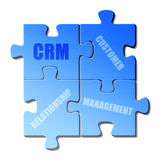 CRM. Words CRM and Customer Relationship Management on isolated blue puzzle pieces, white background Royalty Free Stock Photography