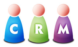 CRM. Isolated 3 vectors colored persons with light CRM letters on white background - Customer Relationship Management Stock Image