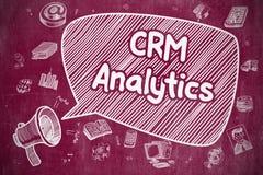CRM Analytics - απεικόνιση κινούμενων σχεδίων στον κόκκινο πίνακα κιμωλίας Στοκ εικόνα με δικαίωμα ελεύθερης χρήσης