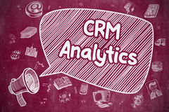 CRM Analytics - Cartoon Illustration on Red Chalkboard. Royalty Free Stock Image