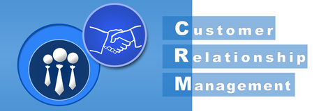 CRM Banner Blue. Banner image of CRM with huma and hand shake icons vector illustration