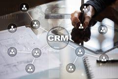 CRM Begrepp för kundförhållandeledning Kundtjänst och förhållande arkivfoton