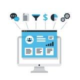 CRM begreppsdesign med beståndsdelar Plana symboler av bokföringssystemet, klienter, service, avtal Organisation av data på arbet stock illustrationer