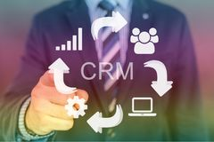 CRM-Bild mit Handzeiger Stockfotos
