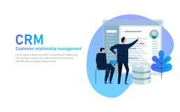 CRM Conceito do gerenciamento de relacionamento com o cliente Homem de negócios que olha na tela da aplicação de base de dados ilustração royalty free