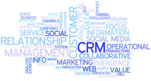 CRM Concept Word Cloud. A Wordcloud showing many Tags of a Topic Stock Photography