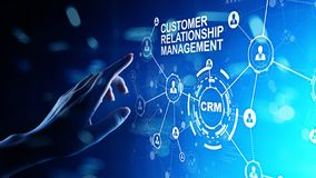 Free CRM - Customer Relationship Management Automation System Software. Business And Technology Concept. Royalty Free Stock Images - 145015219