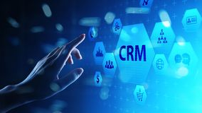 CRM - Customer relationship management automation system software. Business and technology concept. stock images